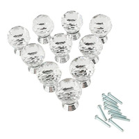 10 Pcs 30mm Cabinet Knob Cupboard Drawer Crystal Glass Clear Pull Handle for Wardrobe Kitchen Door Free Shipping