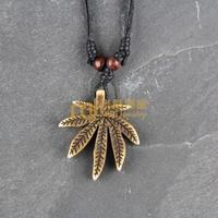 12pcs Free Shipping Indian Jewelry Bone Necklace Classic Unisex Style Pendant Hemp Leaf N0411