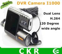 Free shipping  I1000 Dual lens HD 720P Car Camera  DVR recorder  2.0'' LCD + G-Sensor 1.0 Mega Pixels G-Sensor H.264