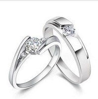 Free Shipping 925 Sterling Silver Jewelry Ring Fine Fashion Silver Plated Zircon Wedding Promise Rings For Couples