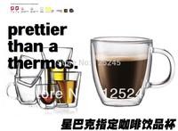 Double Wall Bodum glass coffee mug, beer Mug With Handle  400ml/13oz  free shipping