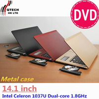 factory supply brand new 14.1 inch Intel dual core  Notebook Laptop Ultrabook compute  Windows7 2GB RAM 120GB HDD Metal case DVD