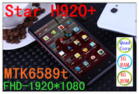 Free shipping butterfly1920*1080 best screen STAR H920+ MTK6589T RAM1.5G quad core butterfly Android 4.21 12.1MP perfect(LT)
