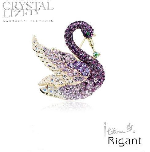 Purple swan shaped Korea restoring ancient ways high-grade crystal brooch corsage(China (Mainland))