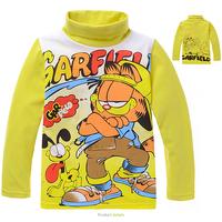 Wholesale Kids Spring Long-sleeved T-shirt Bottoming Shirt Boys Girls Yellow Garfield 100% Cotton Turtleneck Tee Shirts/Pullover
