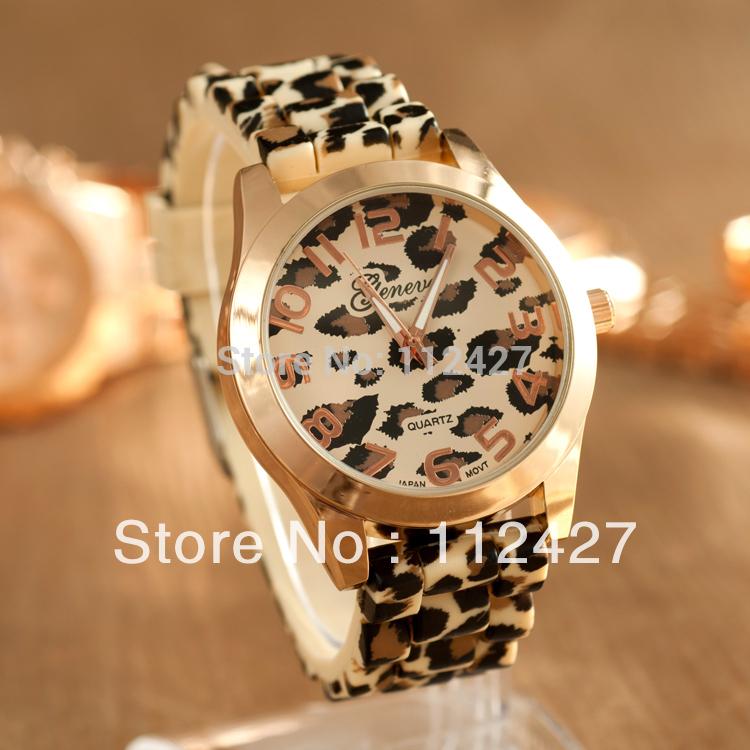 Fashion watch Casual leopard print Woman quartz watch Men women Silicone dress watch 2014 new-EMSX61005(China (Mainland))