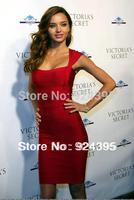 2014 Women's Celebrity square collar Bandage Dress HL RUBY Vest Party Evening Dresses Red Color Good Elastic