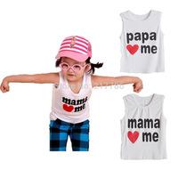 new children top children sleeveless shirt baby vest top i love papa mama children cute tops Children's Clothing T-Shirts 12