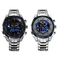 TVG full Steel Luxury Black Men's Clock Fashion Blue Binary Sports LED Watch 30AM Waterproof military Watches Free shipping