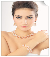 Whosale free shipping NEW EEL crystal neckalce earrings and bracelet fashion jewelry set retail and whosale