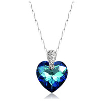 """Romantic """"Heart of Ocean"""" Austria Crystal Pendant Necklace Made With SWA Elements 925 Sterling Silver Free Shipping(CN001)"""