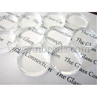 Transparent Glass Cabochons,  Flat Round,  Clear,  18mm,  4.5mm(Range: 4~5mm) thick