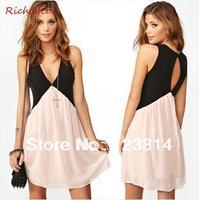 Free Shipping Women Fashion Party DrESS Patchwork Hollow Out Deep V-Neck Sleeveless Chiffon Club Dresses Summer Vestidos D141