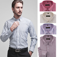 Mens brand shirts Long sleeve Oxford stripes button down dress shirt men Easy care business shirts for men 78%cotton Big size