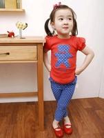 New arrive Summer cute Bear Kids Clothes Set 100%cotton Children Clothing Sets short sleeve T-Shirt+lace Pants girls suit