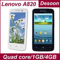 Original Lenovo A820 Phone 4.5 inch IPS Android 4.1 MTK6589 quad core 1GB 4GB Russian Language black/ Koccis