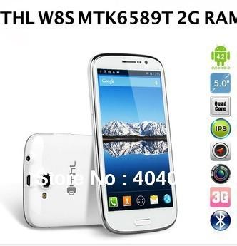THL W8S case mtk6589t quad core android 4.2 5.0 FHD inch screen 2GB RAM + 32GB ROM WSDMA 3G WIFI Bluetooth Free shipping LN
