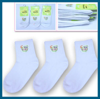 6 pieces/lot Solid White 4-18 years Student Children Sock Cotton All season Boy Girl