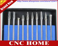 Free Shipping 10pcs/lot 4mm Tungsten Carbide Burr Diamond Cutting Rotary Tools, Parts, Set Sale, CNC Engraving Bit Shank 3.175mm
