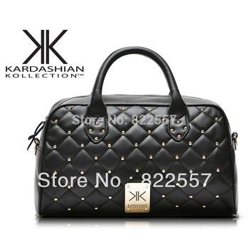 2014 New KK Quilted shoulder bag rivet fashion women handbag Messenger bag free shipping black