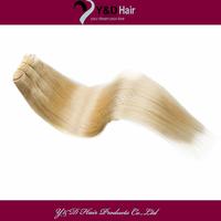 #60 Platinum Blonde DIY Clip Hair 100% Human Hair Extension Sew in Weft Brazilian Virgin Hair Straight100g/bundle