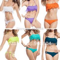 2013 Free Shipping 7 Colors Tassels Swimsuit Swimwear Sexy Women Lady Top Sexy Bikinis Set DY30501