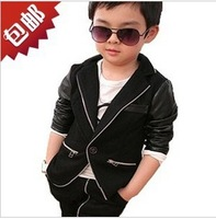Free shipping new 2013 baby boys casual pu leather clothing coat boy's reima jacket boy sports suit children outerwear
