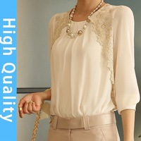 2014 new autumn -summer  women's loose chiffon shirt pocket feminine blouse large size fashion 2014 innovative items lace top