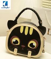 2013 new fashionable kitten han edition single shoulder bag, oblique ku bag portable cute cartoon bump color handbag from mail