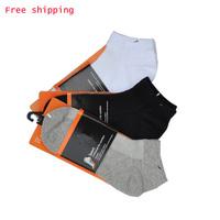 Summer socks sports sock short male short socks casual man's solid color  summer 100% brand soft spandex cotton
