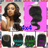 Queen Hair Products 100% Human Hair Brazilian Virgin Hair Body Wave Top Lace Closure 4x4 Hair Queen Products
