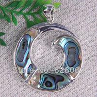 Pretty Natural New Zealand Abalone Shell Bead Pendant Jewelry Free shipping S160
