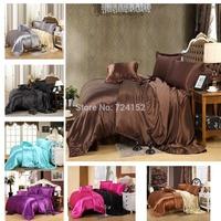 Free Shipping 3 size of 28 colors satin silk textile cotton quilt cotton marriage celebration bedding denim bedding deals  King