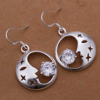 Wholesale 925 Silver Earring,925 Silver Fashion Jewelry Insets Crescent Moon Earrings Free Shipping SMTE267