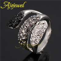 Ajojewel Brand Unique 18k white gold plated black and white stone fashion retro rhinestone ring jewelry for men and women