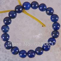 10MM Lapis Lazuli Round Beads Bracelet Jewelry 8 Inch Free shipping G255