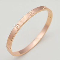 Min Order $10(Mix Order)Free Shipping, B071 Fashion 18K Rose Gold Plated Alloy Screw Lover Bangle