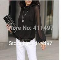 Hot Woman 2014 Spring  S/M/L/xl/2xl/3XL/4XL Korea Long Sleeve Chiffon Shirt& Blouses with bowtie elegant