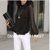 On Promotion!!Woman Summer*Autumn S/M/L/xl/2xl/3XL/4XL Korea Long Sleeve Chiffon Shirt& Blouses with bowtie elegant