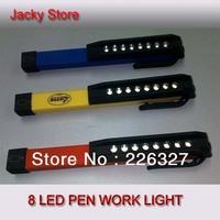 Free Shipping Mini 8 SMD LED Pen Task Flashlight With Clip , Pocket Spotlight With Magnet , Pocket Pen Inspection Working Light