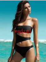 1pcWomens Chic Black One-Piece Cut Out Monokini Swimsuit Padded Swimwear
