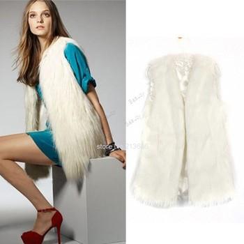 2014 Длинный Design Женщины Faux Fox Мех Жилет Leather Жилет Outerwear Plus Размер ...