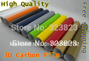"12""  x 59""( 152*30CM) 3D Carbon Fiber Vinyl Car Wrapping Foil,Carbon Fiber Car Decoration Sticker,Many Color Option"