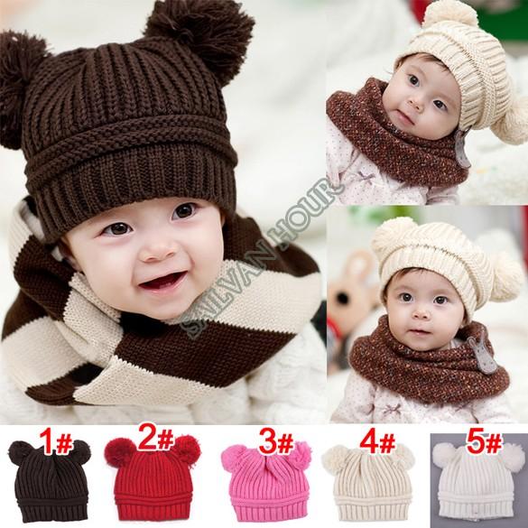 Top Sale 2014 New Fashion Baby Girls Boys Kids Children Dual Ball Knit Sweater Cap Hats Winter Warm Knitted 41(China (Mainland))