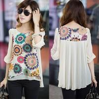 Half Sleeve Chiffon Blouse Women Blusas Femininas Plus Size Pleated Flower Printed Ladies Blouses 2014 Summer Shirt Tops #3SV0