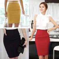 4pcs/lot hot sale Women's Slim Retro Casual High Waist Bag Hip Knee Length Office Lady Pencil Skirt dropshipping 13810