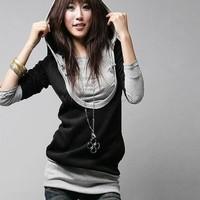 Hot sale 4pcs/lot Korea Women's Warm Zip Up Outerwear Long Sleeve Cotton tops dress Hoodie coat Sweatshirts SV10