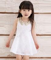 2015 New Baby Kids Children's Girls Lovely Sequins Collar Sleeveless Lace Vest Princess Dress Drop Shipping 14554