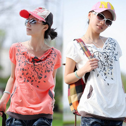 2014 Summer New Printed Leaves T-Shirt Cotton Plus Size Clothing Big Size Ladies Wear Free Shipping