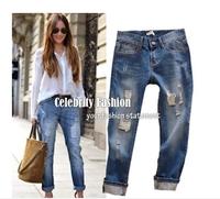 2015 Summer Women Jeans Casual Wearing White Retro Hole Butt-lifting Denim Jeans Roll up Cross Haren Pants Applique Plus Size